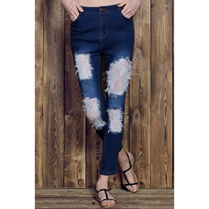 Rose Print See-Through Lace Spliced Ripped Jeans For Women - DEEP BLUE M