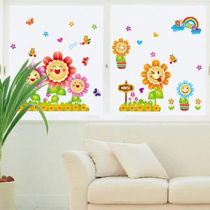 Smiling Sunflowers Cartoon Wall Sticker Home Decoration - COLORMIX