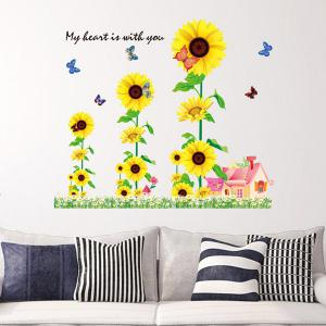Chic Sunflowers House Pattern Wall Sticker For Bedroom Livingroom Decoration - COLORMIX