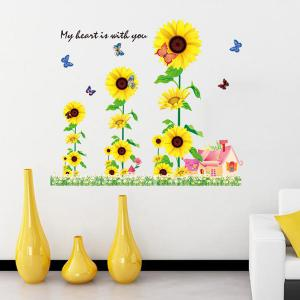 Chic Sunflowers House Pattern Wall Sticker For Bedroom Livingroom Decoration -