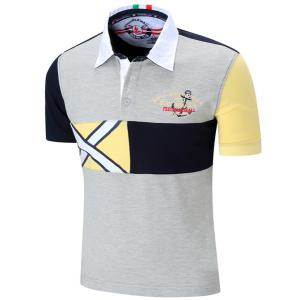 Turn-Down Collar Letters Embroidered Color Block Spliced Short Sleeve Polo T-Shirt For Men - GRAY M