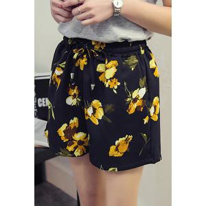 Plus Size High Waisted Floral Print  Culotte Shorts -