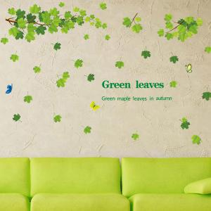 Chic Green Leaves Pattern Wall Sticker For Bedroom Livingroom Decoration - GREEN