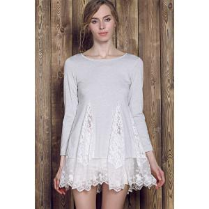 Lace Panel Skater Dress With Sleeves - GRAY S