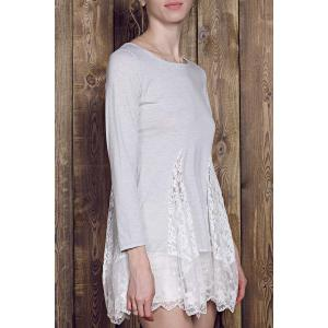 Lace Panel Skater Dress With Sleeves - Gray - Xl