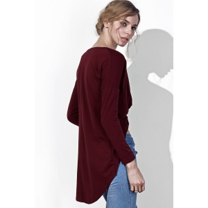 Sexy Plunging Neck Twist Pleated Asymmetric Solid Color Blouse For Women - WINE RED M