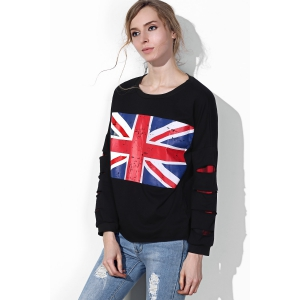 Casual Union Flag Printed Broken Hole Black Pullover Sweatshirt For Women -
