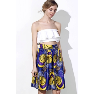 Vintage High-Waisted Printed Women's Pleated Skirt - COLORMIX S