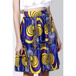 Vintage High-Waisted Printed Women's Pleated Skirt - Colormix - Xl