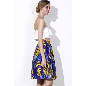 Vintage High-Waisted Printed Women's Pleated Skirt -