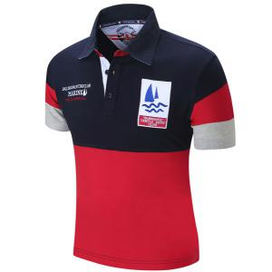 Turn-Down Collar Letters Sailing Embroidered Color Block Spliced Short Sleeve Polo T-Shirt For Men - DEEP BLUE XL