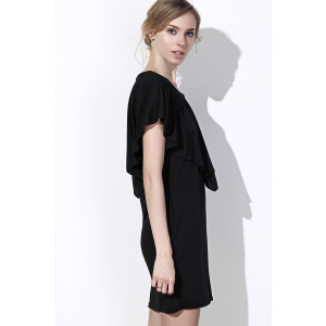 Fashionable Scoop Neck Solid Color Short Sleeve Dress For Women -