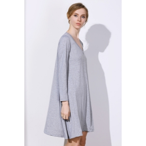Simple Plunging Neck Long Sleeve Pure Color Women's Dress -