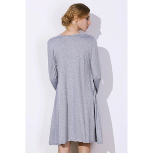 Simple Plunging Neck Long Sleeve Pure Color Women's Dress - GRAY XL