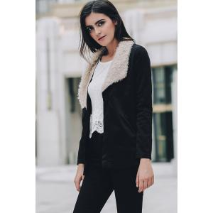 Women's Stylish Fur Collar Pocket Long Sleeve Jacket -
