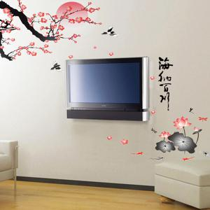 Chic Water Lily Landscape Pattern Wall Sticker For Bedroom Livingroom Decoration - COLORMIX