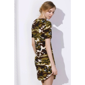 Camo Arc Hem Tunic T-Shirt Dress -