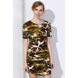 Camo Arc Hem Tunic T-Shirt Dress - CAMOUFLAGE 2XL