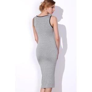 Scoop Neck Sleeveless Letter Bodycon Midi Dress - GRAY ONE SIZE(FIT SIZE XS TO M)