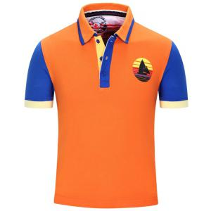 Turn-Down Collar Sailing Print Color Block Stripe Short Sleeve Polo T-Shirt For Men