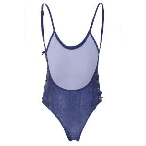 Sexy Strappy Backless Solid Color One-Piece Swimwear For Women -