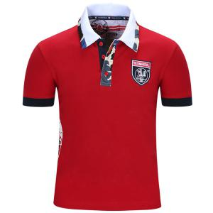 Turn-Down Collar Badge Embroidered Camo Spliced Short Sleeve Polo T-Shirt For Men - Red - L