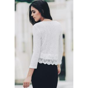 Sweet Scoop Neck 3/4 Sleeve Lace Spliced Women's Blouse - WHITE S