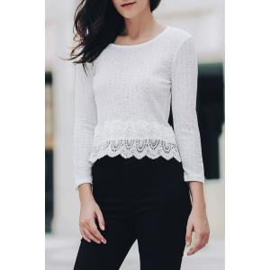 Sweet Scoop Neck 3/4 Sleeve Lace Spliced Women's Blouse