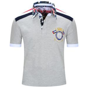 Turn-Down Collar Badge Embroidered Camouflage Spliced Short Sleeve Polo T-Shirt For Men