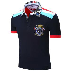 Turn-Down Collar Badge Embroidered Camouflage Spliced Short Sleeve Polo T-Shirt For Men -