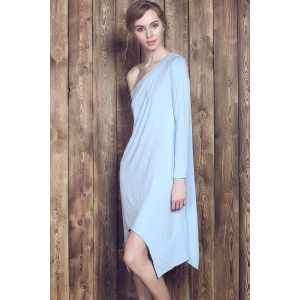 Sweet Candy Color Skew Collar Long Sleeve Asymmetric Dress For Women -