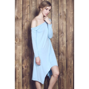 Sweet Candy Color Skew Collar Long Sleeve Asymmetric Dress For Women - LIGHT BLUE L