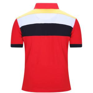 Turn-Down Collar Badge Embroidered Color Block Stripe Short Sleeve Polo T-Shirt For Men -