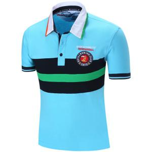 Turn-Down Collar Embroidered Color Block Stripe Short Sleeve Polo T-Shirt For Men - LIGHT BLUE M