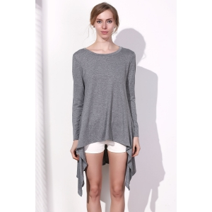 Long Sleeve Asymmetrical Knitted Tunic Dress - GRAY S