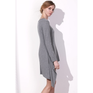 Long Sleeve Asymmetrical Knitted Tunic Dress -