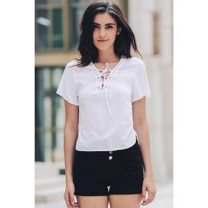 Stylish V-Neck Short Sleeve Solid Color Lace-Up T-Shirt For Women -