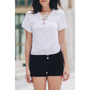 Stylish V-Neck Short Sleeve Solid Color Lace-Up T-Shirt For Women