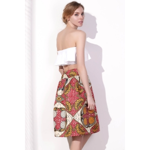 Chic High Waist Color Block Geometrical Print A-Line Skirt For Women - COLORMIX XL