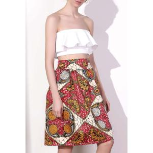 Chic High Waist Color Block Geometrical Print A-Line Skirt For Women