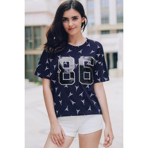 Stylish Scoop Neck Short Sleeve Sequins Number Pattern T-Shirt For Women - CADETBLUE M