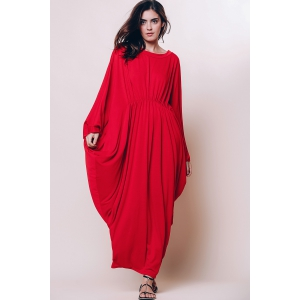 Maxi Batwing Long Sleeve Pleated Casual Dress - RED M