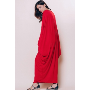 Maxi Batwing Long Sleeve Pleated Casual Dress -