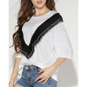 Stylish Jewel Neck Half Sleeves Solid Color T-Shirt For Women -