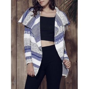 Stylish Long Sleeve Knitted Irregular Loose-Fitting Women's Cardigan - Grey And White And Blue - 2xl