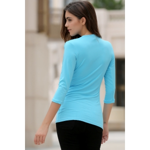 Chic Cowl Neck 3/4 Sleeve Pure Color Ruffled Women's T-Shirt -