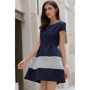 Stylish Scoop Neck Short Sleeve Spliced Women's Flare Dress -