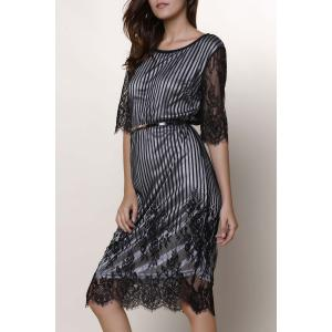 Chic Jewel Neck Lace Splicing 1/2 Sleeve Skinny Dress For Women