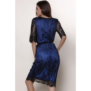 Chic Jewel Neck Lace Splicing 1/2 Sleeve Skinny Dress For Women -