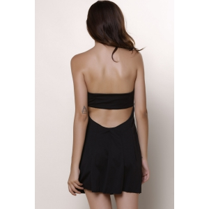 Sexy Strapless Open Back Dress For Women - BLACK L